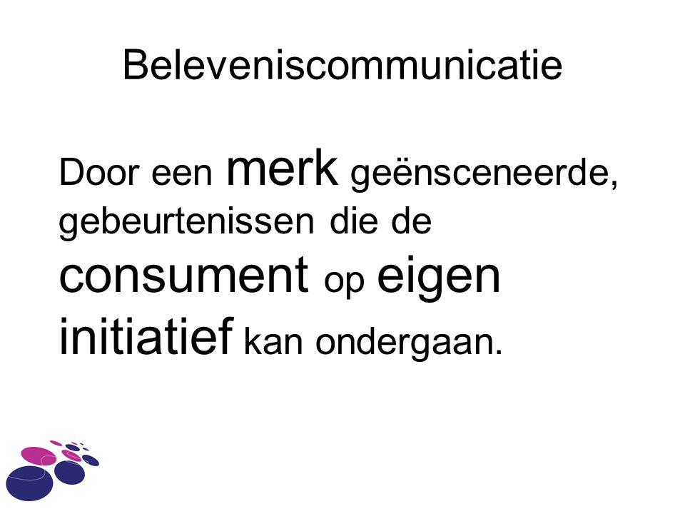 Beleveniscommunicatie Door een merk geënsceneerde, gebeurtenissen die de consument op eigen initiatief kan ondergaan.