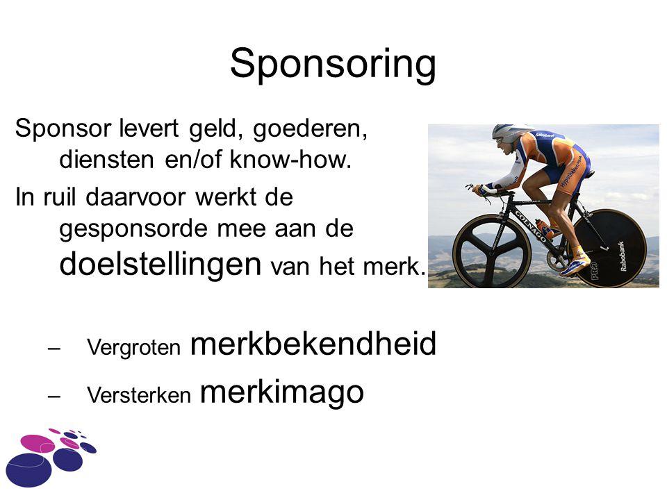 Sponsoring Sponsor levert geld, goederen, diensten en/of know-how.