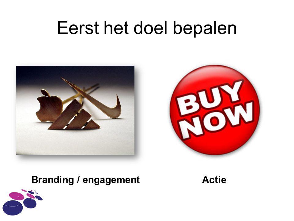 Eerst het doel bepalen Branding / engagement Actie