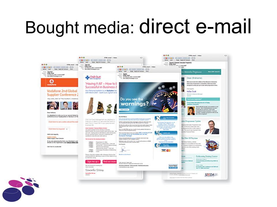 Bought media: direct e-mail