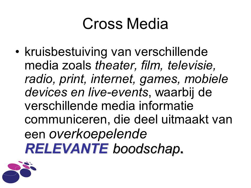 Cross Media RELEVANTE boodschap.kruisbestuiving van verschillende media zoals theater, film, televisie, radio, print, internet, games, mobiele devices en live-events, waarbij de verschillende media informatie communiceren, die deel uitmaakt van een overkoepelende RELEVANTE boodschap.
