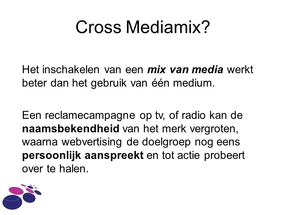 Cross Mediamix.Het inschakelen van een mix van media werkt beter dan het gebruik van één medium.