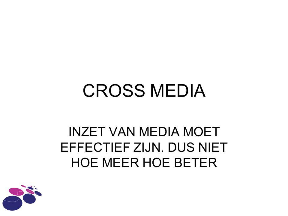 CROSS MEDIA INZET VAN MEDIA MOET EFFECTIEF ZIJN. DUS NIET HOE MEER HOE BETER