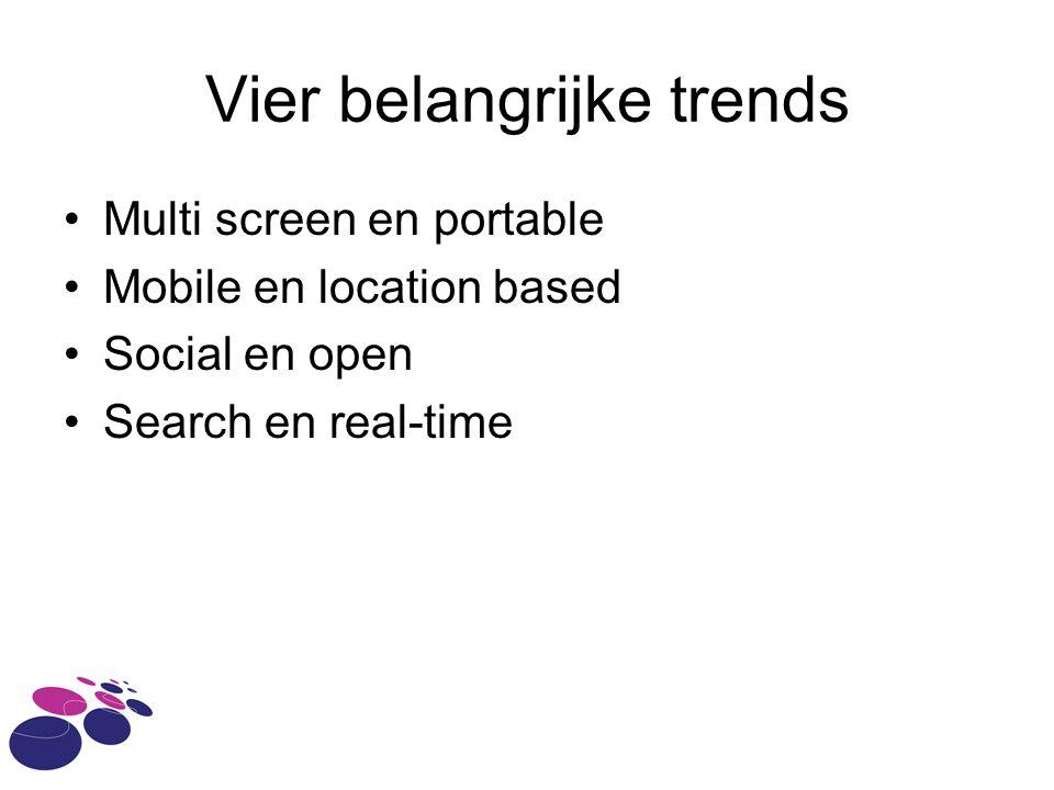 Vier belangrijke trends Multi screen en portable Mobile en location based Social en open Search en real-time