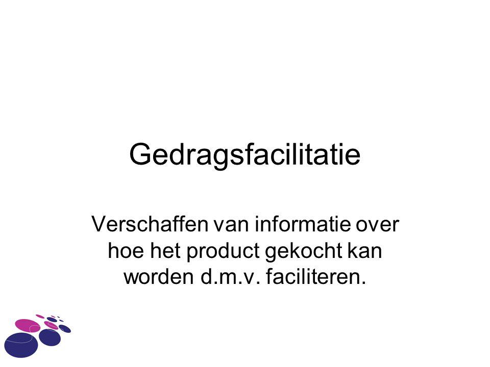 Gedragsfacilitatie Verschaffen van informatie over hoe het product gekocht kan worden d.m.v.