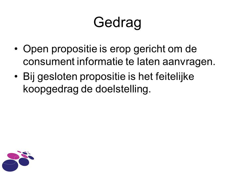 Gedrag Open propositie is erop gericht om de consument informatie te laten aanvragen.