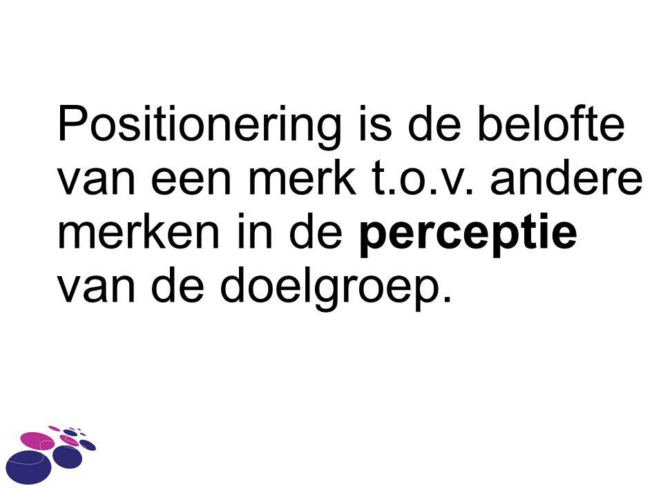 Positionering is de belofte van een merk t.o.v. andere merken in de perceptie van de doelgroep.