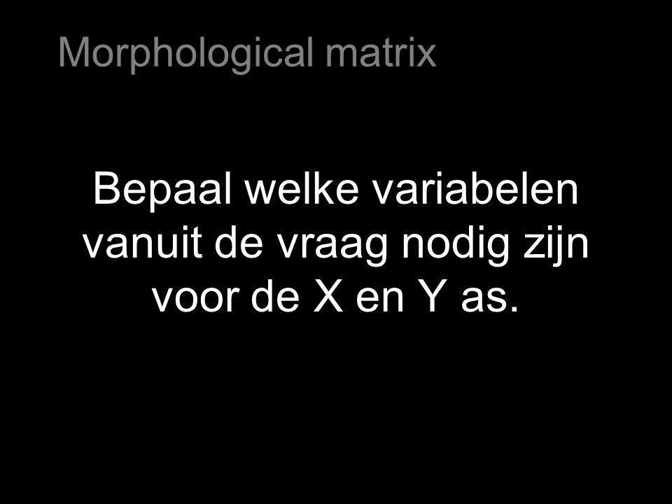 Bepaal welke variabelen vanuit de vraag nodig zijn voor de X en Y as. Morphological matrix