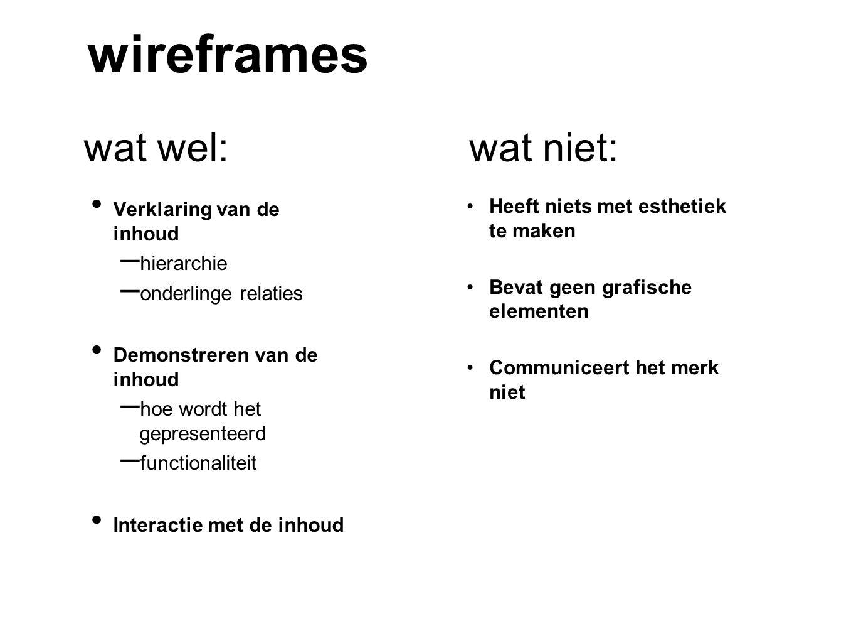 wireframes Verklaring van de inhoud – hierarchie – onderlinge relaties Demonstreren van de inhoud – hoe wordt het gepresenteerd – functionaliteit Inte