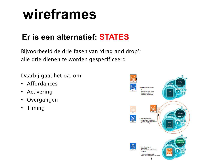 Er is een alternatief: STATES wireframes Bijvoorbeeld de drie fasen van 'drag and drop': alle drie dienen te worden gespecificeerd Daarbij gaat het oa