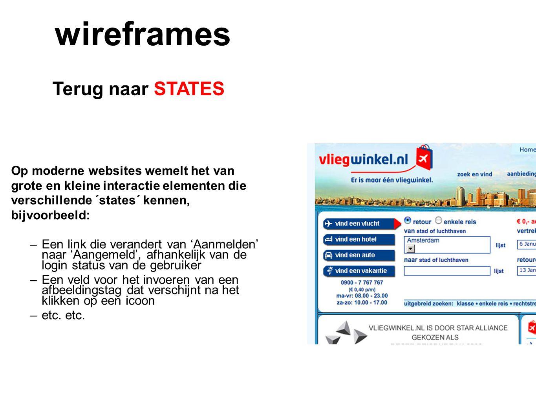 Terug naar STATES wireframes Op moderne websites wemelt het van grote en kleine interactie elementen die verschillende ´states´ kennen, bijvoorbeeld: