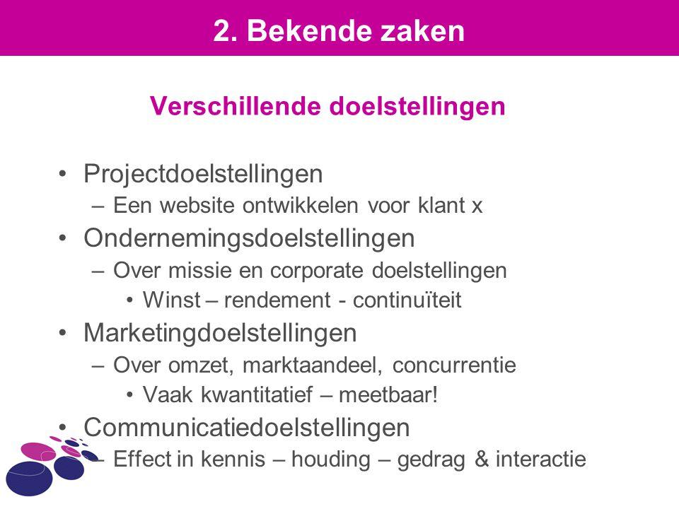 Verschillende doelstellingen Projectdoelstellingen –Een website ontwikkelen voor klant x Ondernemingsdoelstellingen –Over missie en corporate doelstel