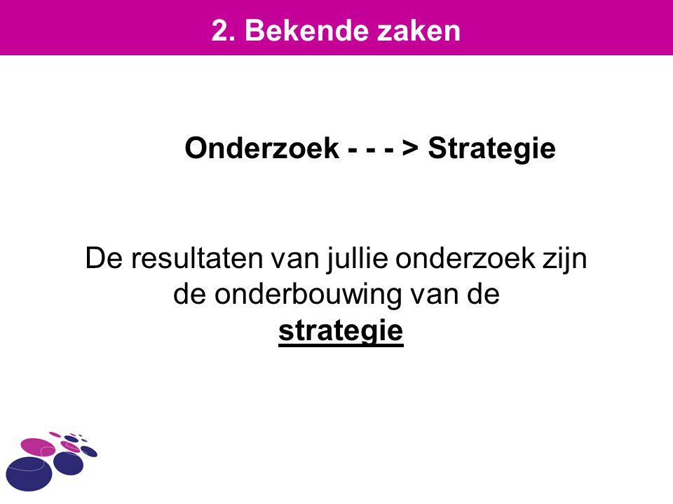 Onderzoek - - - > Strategie De resultaten van jullie onderzoek zijn de onderbouwing van de strategie 2. Bekende zaken