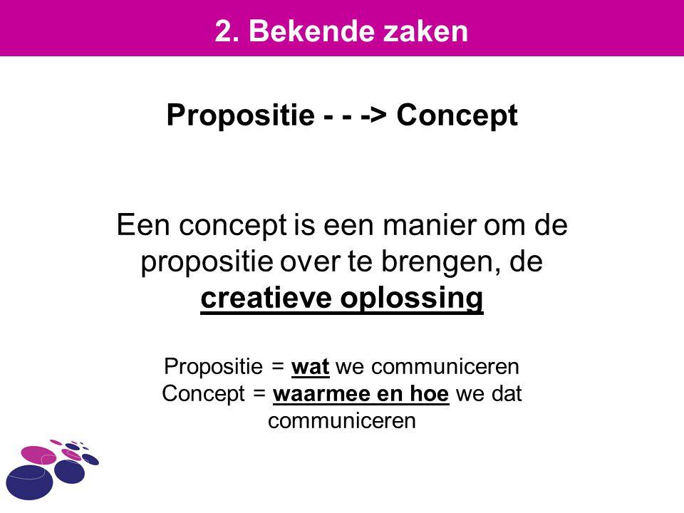 Propositie - - -> Concept Een concept is een manier om de propositie over te brengen, de creatieve oplossing Propositie = wat we communiceren Concept