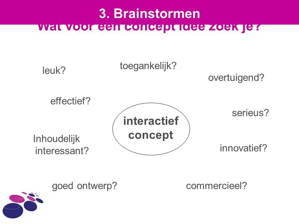 Wat voor een concept idee zoek je? interactief concept leuk? overtuigend? innovatief? commercieel?goed ontwerp? Inhoudelijk interessant? effectief? to