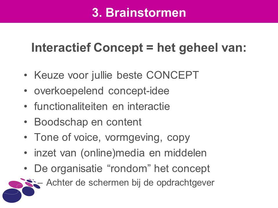Interactief Concept = het geheel van: Keuze voor jullie beste CONCEPT overkoepelend concept-idee functionaliteiten en interactie Boodschap en content