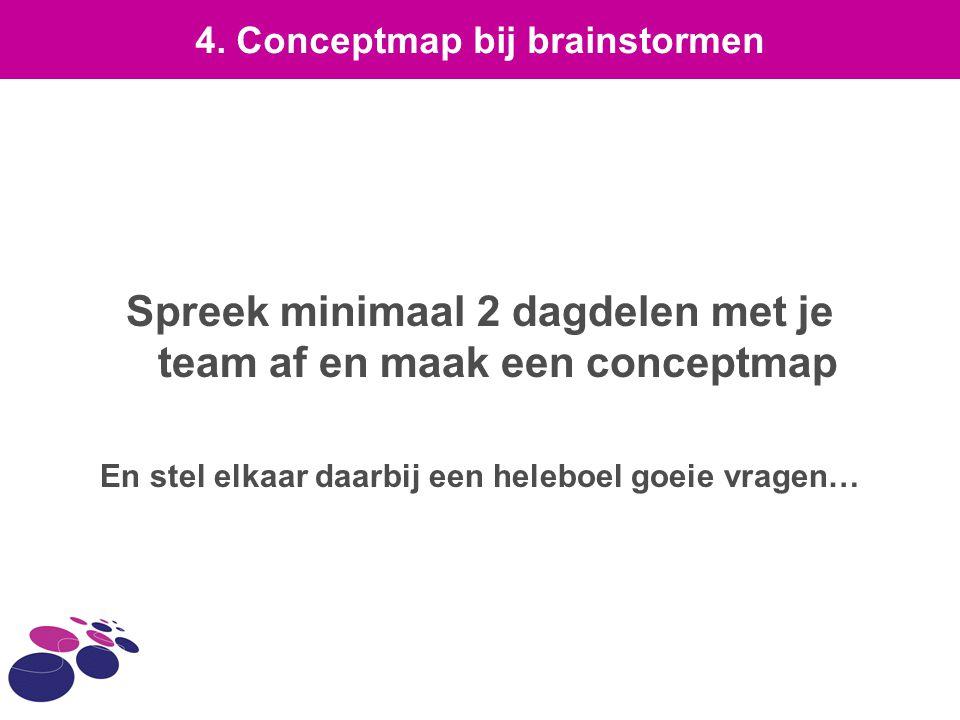 Spreek minimaal 2 dagdelen met je team af en maak een conceptmap En stel elkaar daarbij een heleboel goeie vragen… 4. Conceptmap bij brainstormen