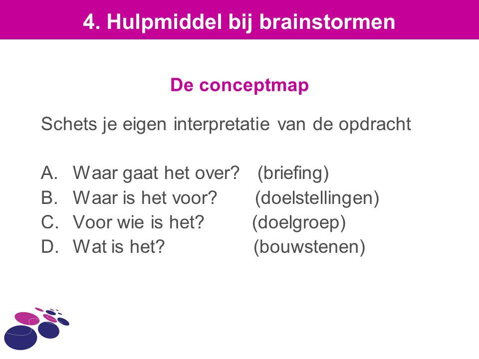 De conceptmap Schets je eigen interpretatie van de opdracht A.Waar gaat het over? (briefing) B.Waar is het voor? (doelstellingen) C.Voor wie is het? (