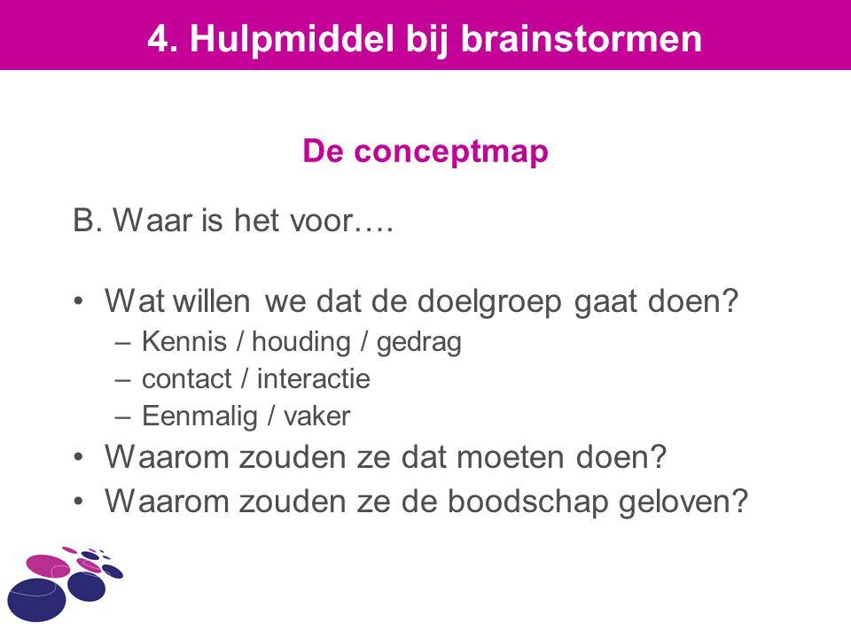 De conceptmap B. Waar is het voor…. Wat willen we dat de doelgroep gaat doen? –Kennis / houding / gedrag –contact / interactie –Eenmalig / vaker Waaro