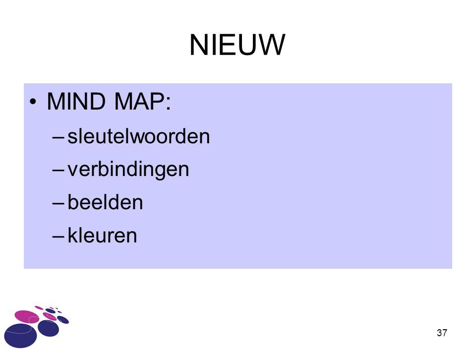 37 NIEUW MIND MAP: –sleutelwoorden –verbindingen –beelden –kleuren