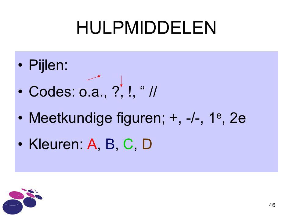 """46 HULPMIDDELEN Pijlen: Codes: o.a., ?, !, """" // Meetkundige figuren; +, -/-, 1 e, 2e Kleuren: A, B, C, D"""