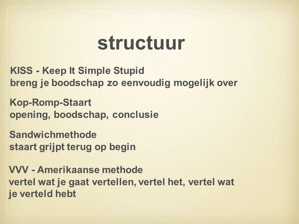 structuur Kop-Romp-Staart opening, boodschap, conclusie KISS - Keep It Simple Stupid breng je boodschap zo eenvoudig mogelijk over Sandwichmethode sta