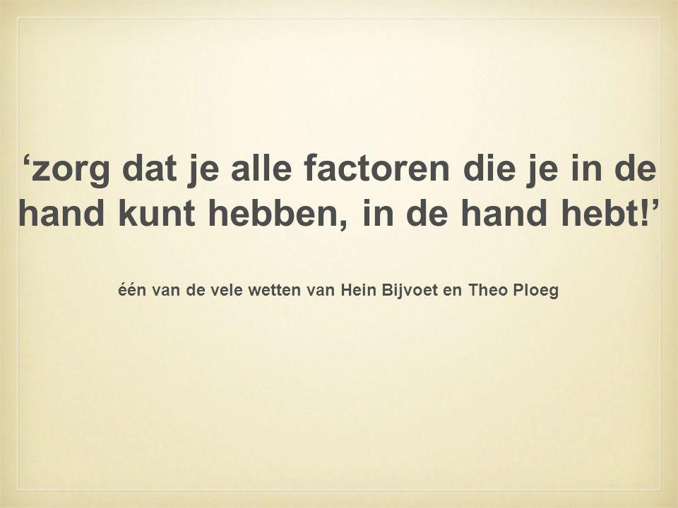 'zorg dat je alle factoren die je in de hand kunt hebben, in de hand hebt!' één van de vele wetten van Hein Bijvoet en Theo Ploeg