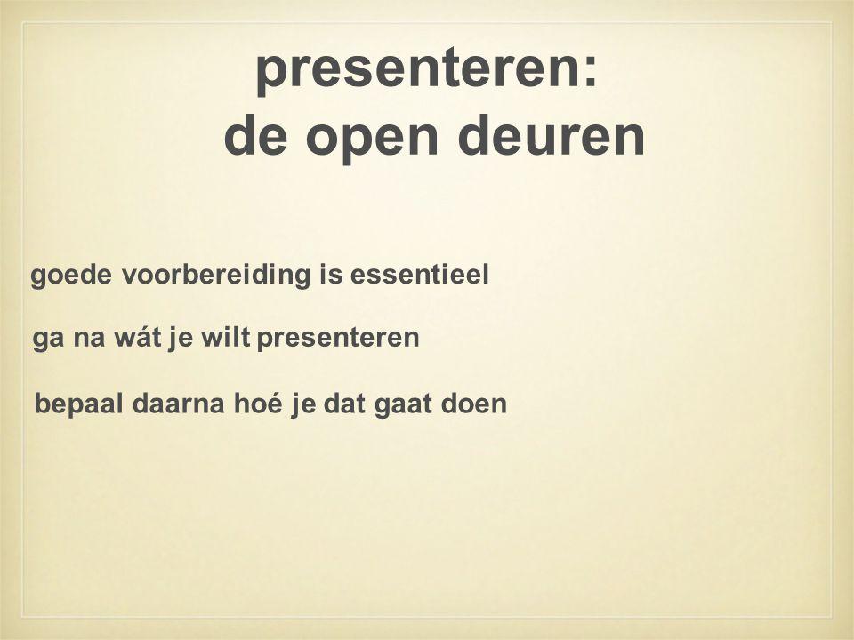 presenteren: de open deuren goede voorbereiding is essentieel ga na wát je wilt presenteren bepaal daarna hoé je dat gaat doen