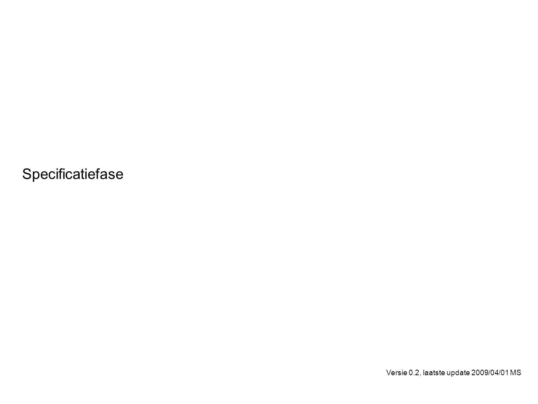 Specificatiefase Training Versie 0.2, laatste update 2009/04/01 MS
