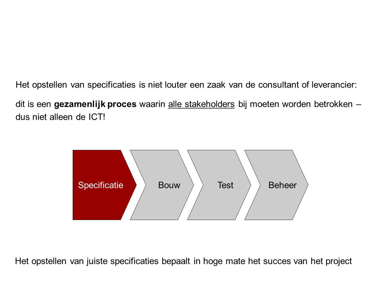 Introductie Het opstellen van specificaties is niet louter een zaak van de consultant of leverancier: dit is een gezamenlijk proces waarin alle stakeh