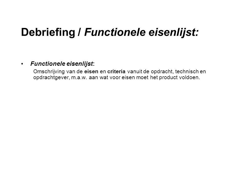 Debriefing / Functionele eisenlijst: Functionele eisenlijst: Omschrijving van de eisen en criteria vanuit de opdracht, technisch en opdrachtgever, m.a