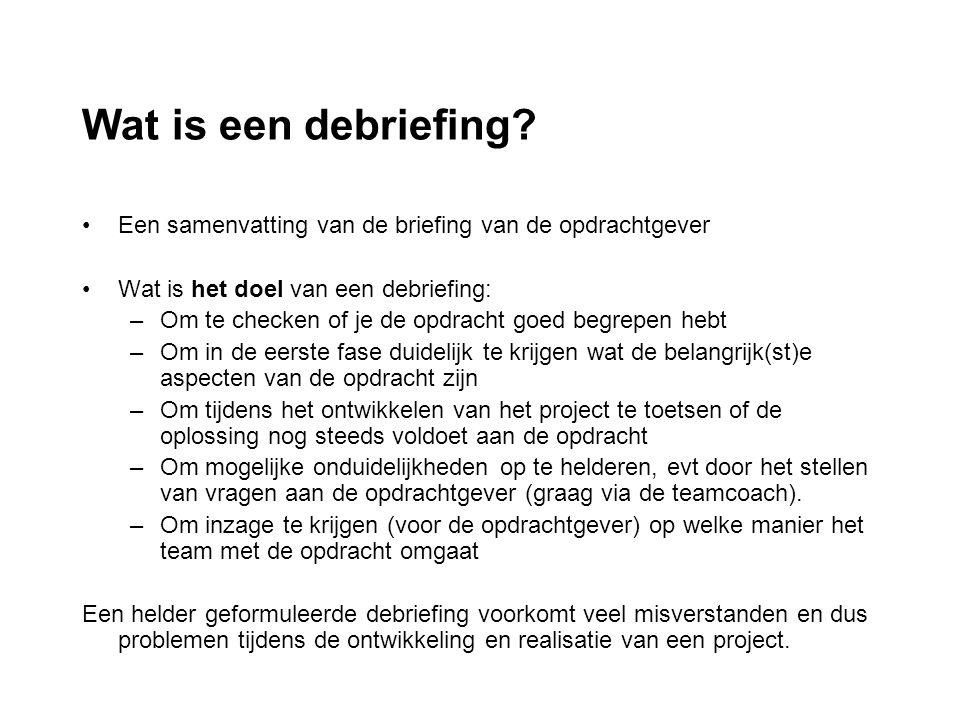 Debriefing De debriefing bevat de volgende onderdelen: Inleiding Opdracht Probleemstelling Doelgroep Succesindicatoren Functionele eisenlijst