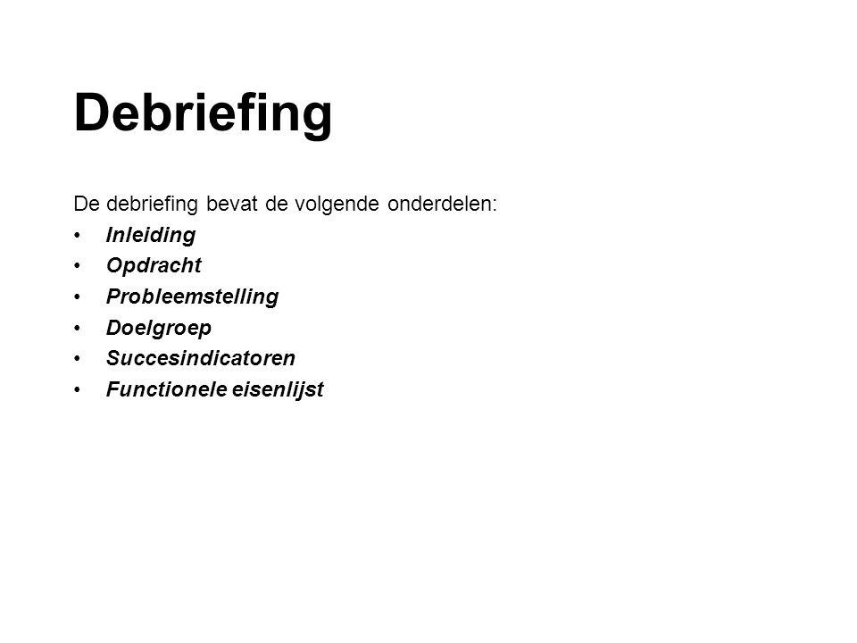 Debriefing / inleiding De debriefing bevat de volgende onderdelen: Inleiding: Een korte inleiding waar dit debriefingsdocument over gaat.