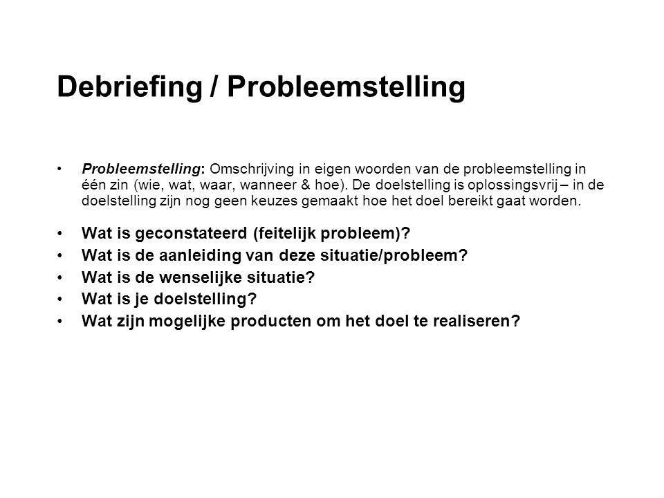 Debriefing / Probleemstelling Probleemstelling: het formuleren van een probleem Omschrijving in eigen woorden van de probleemstelling in één zin (wie, wat, waar, wanneer & hoe).