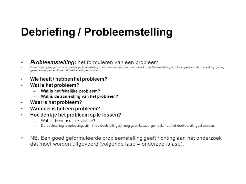 Debriefing / Probleemstelling Probleemstelling: het formuleren van een probleem Omschrijving in eigen woorden van de probleemstelling in één zin (wie,