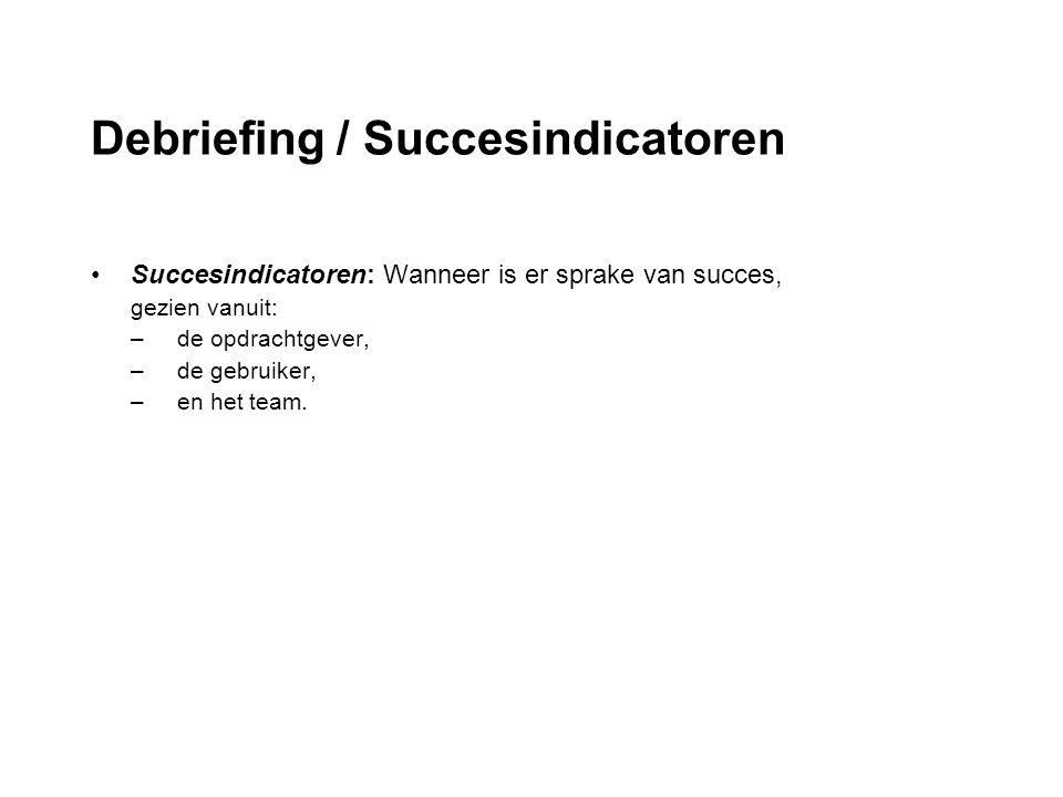 Debriefing / Succesindicatoren Succesindicatoren: Wanneer is er sprake van succes, gezien vanuit: –de opdrachtgever, –de gebruiker, –en het team.