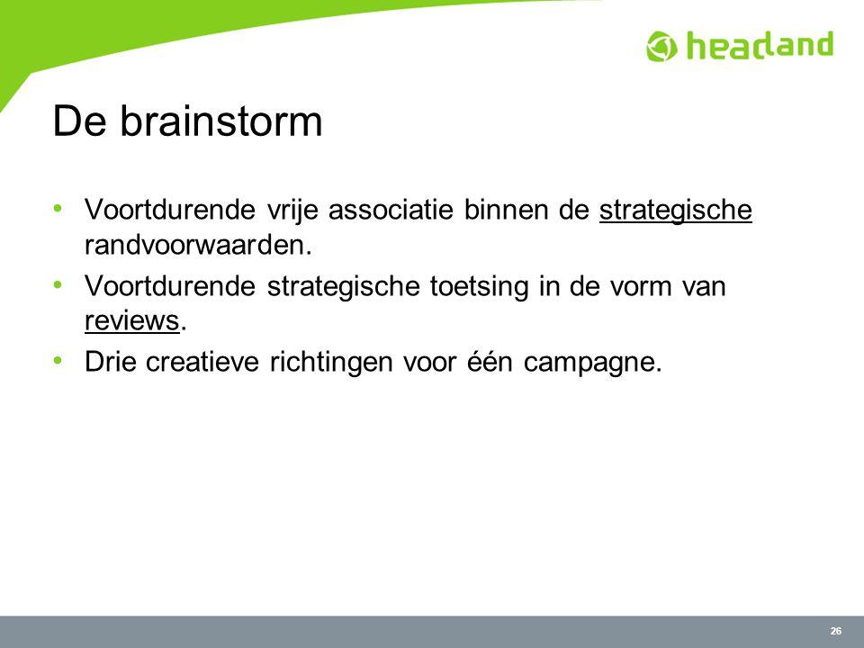 26 De brainstorm Voortdurende vrije associatie binnen de strategische randvoorwaarden.
