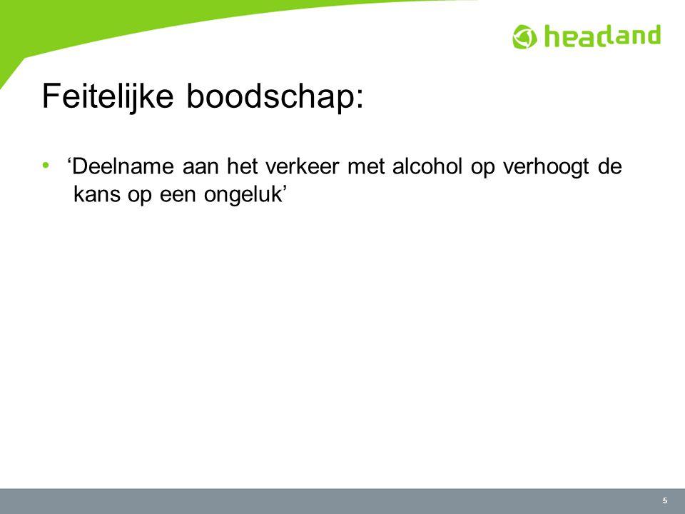 5 Feitelijke boodschap: 'Deelname aan het verkeer met alcohol op verhoogt de kans op een ongeluk'