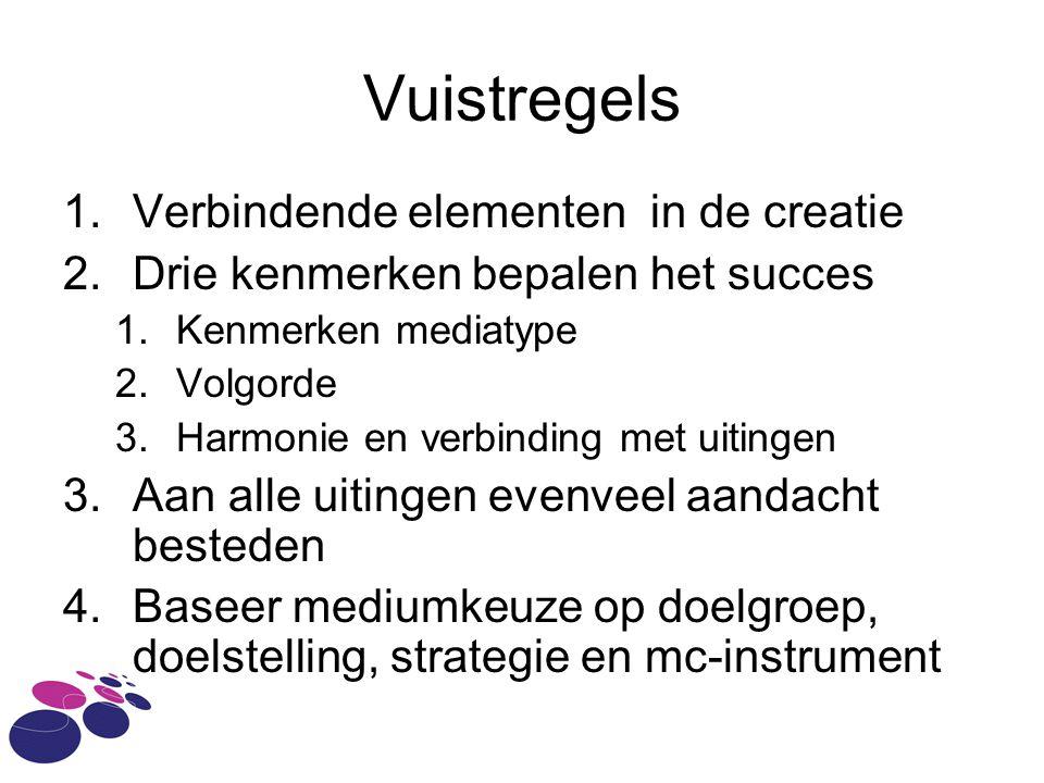 Vuistregels 1.Verbindende elementen in de creatie 2.Drie kenmerken bepalen het succes 1.Kenmerken mediatype 2.Volgorde 3.Harmonie en verbinding met ui