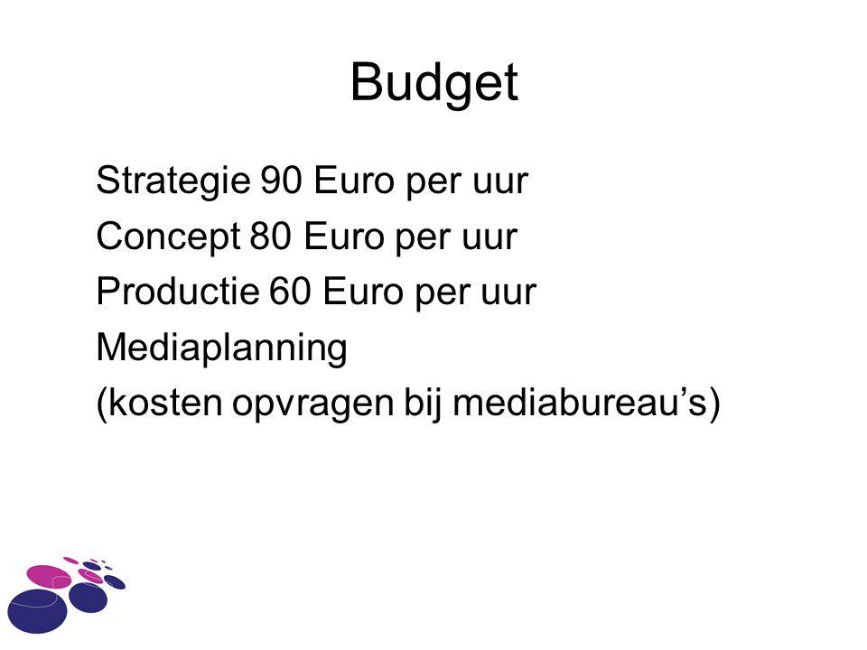 Budget Strategie 90 Euro per uur Concept 80 Euro per uur Productie 60 Euro per uur Mediaplanning (kosten opvragen bij mediabureau's)