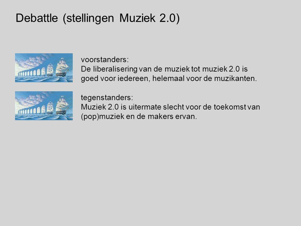 Debattle (stellingen Muziek 2.0) voorstanders: De liberalisering van de muziek tot muziek 2.0 is goed voor iedereen, helemaal voor de muzikanten.