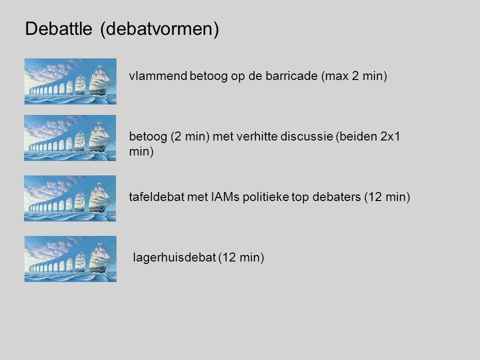 Debattle (debatvormen) vlammend betoog op de barricade (max 2 min) betoog (2 min) met verhitte discussie (beiden 2x1 min) tafeldebat met IAMs politieke top debaters (12 min) lagerhuisdebat (12 min)