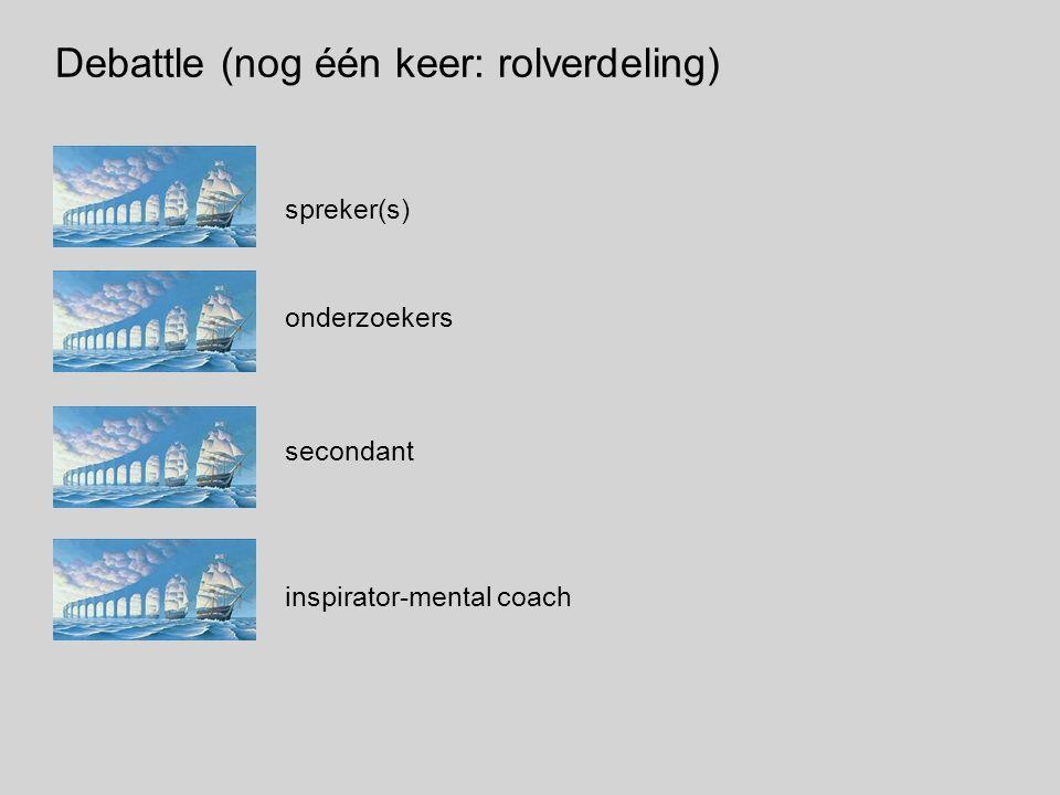 Debattle (nog één keer: rolverdeling) spreker(s) onderzoekers secondant inspirator-mental coach