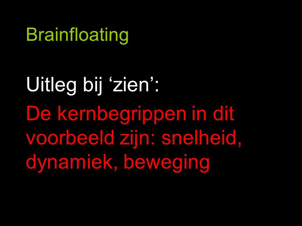 Brainfloating Uitleg bij 'zien': De kernbegrippen in dit voorbeeld zijn: snelheid, dynamiek, beweging