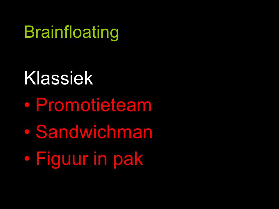 Brainfloating Klassiek Promotieteam Sandwichman Figuur in pak
