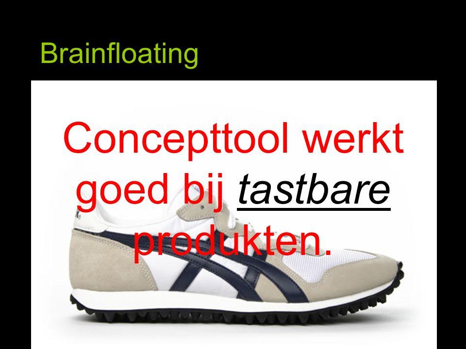 Brainfloating Concepttool werkt goed bij tastbare produkten.