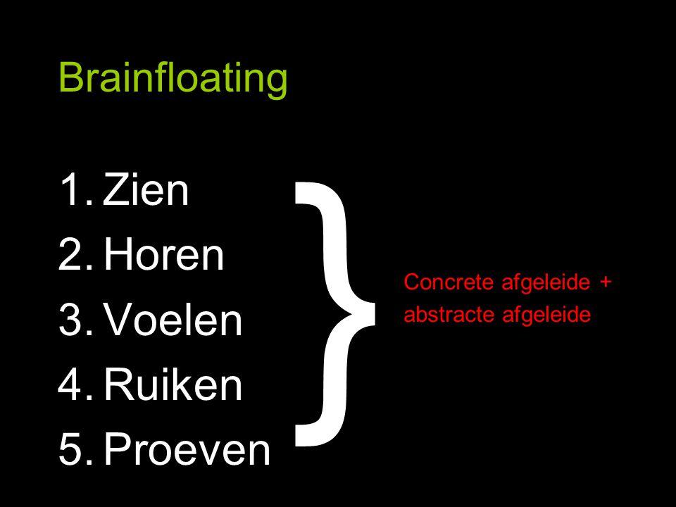 Brainfloating 1.Zien 2.Horen 3.Voelen 4.Ruiken 5.Proeven Concrete afgeleide + abstracte afgeleide }