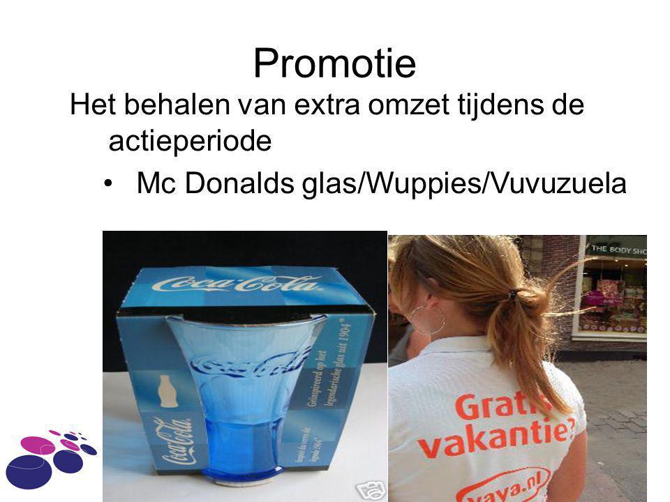 Promotie Het behalen van extra omzet tijdens de actieperiode Mc Donalds glas/Wuppies/Vuvuzuela