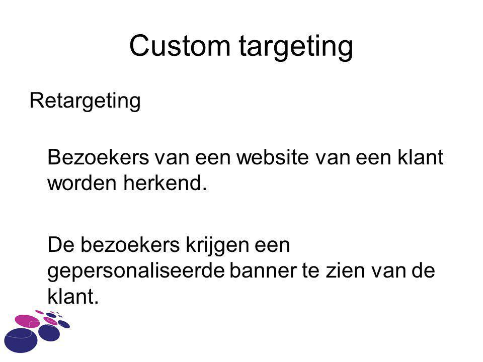 Custom targeting Retargeting Bezoekers van een website van een klant worden herkend. De bezoekers krijgen een gepersonaliseerde banner te zien van de