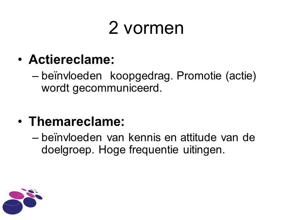2 vormen Actiereclame: –beïnvloeden koopgedrag. Promotie (actie) wordt gecommuniceerd. Themareclame: –beïnvloeden van kennis en attitude van de doelgr